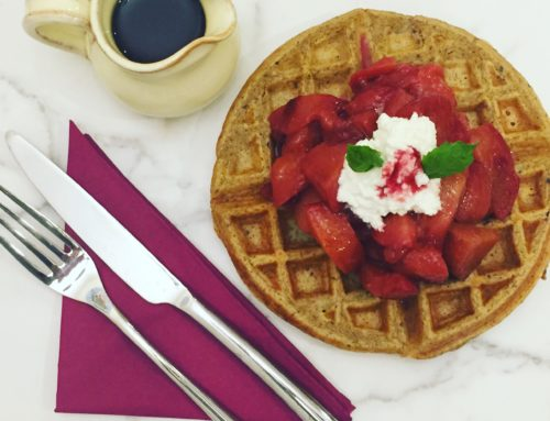 Plum Waffles with Warm Maple-Plum Compote